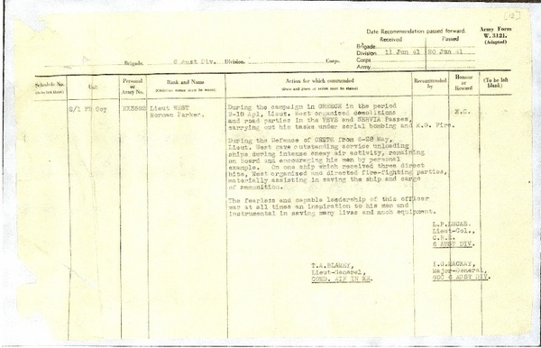 1941 Norman Parker West Military Cross citation