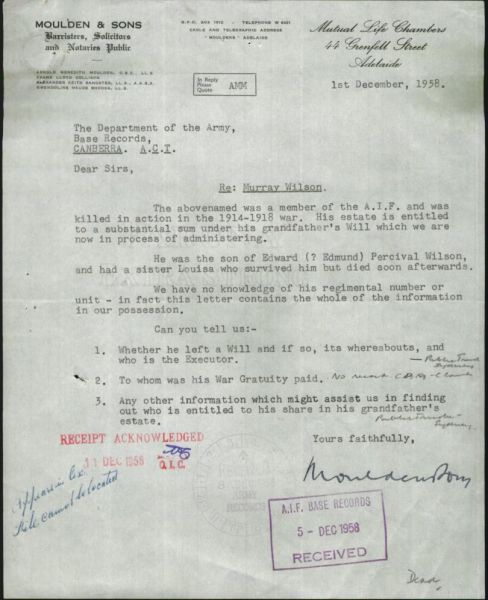1958 Murray Wilson-Moulden letter to Army