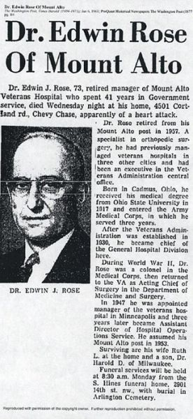 1961 Dr Edwin Jehu Rose obituary