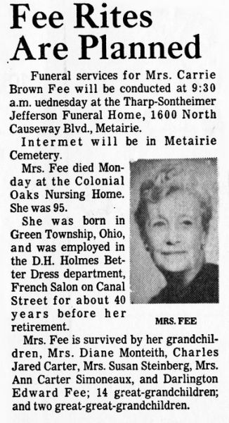 1975 Obituary - Carrie Adele Brown Fee